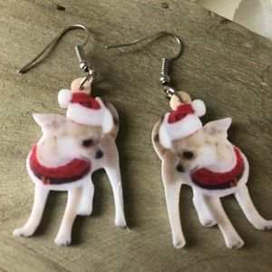 Holiday Chihuahua Earrings Dogs Santa Hat Outfit